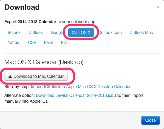 Apple Mac OS X Jewish calendar download dialog box