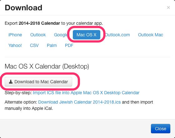 Apple Mac OS X Jewish calendar download dialog box