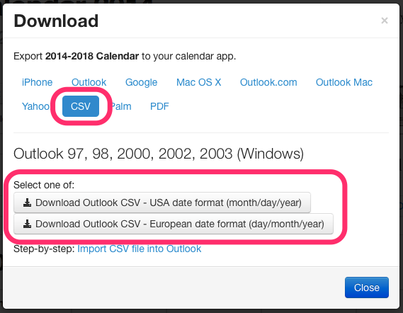 CSV Jewish calendar download dialog box