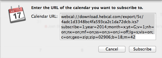 Enter the url of the calendar you want to subscribe to