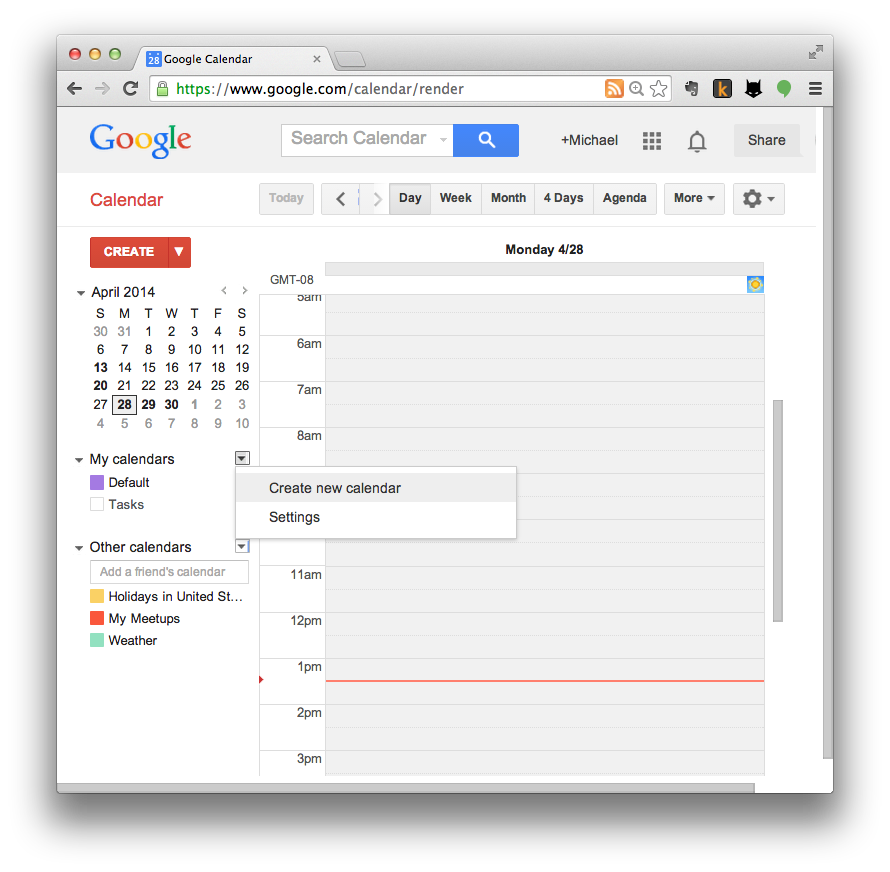 Google Calendar import step 1