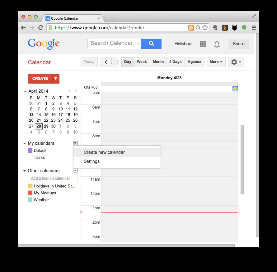 Google Calendar import step 1