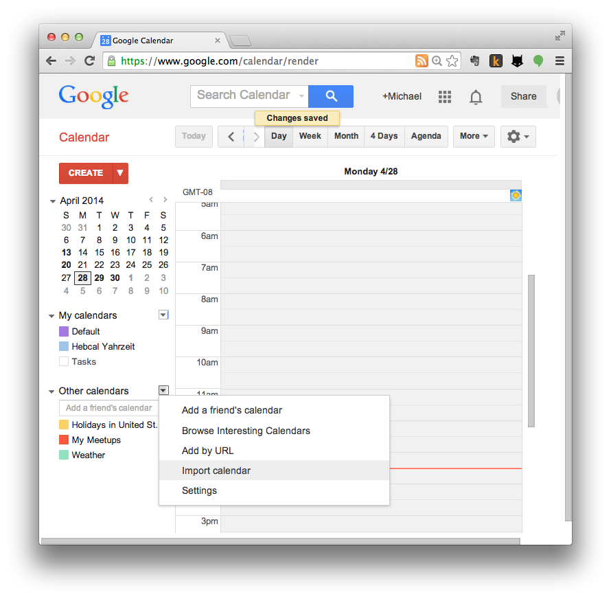Google Calendar import step 3