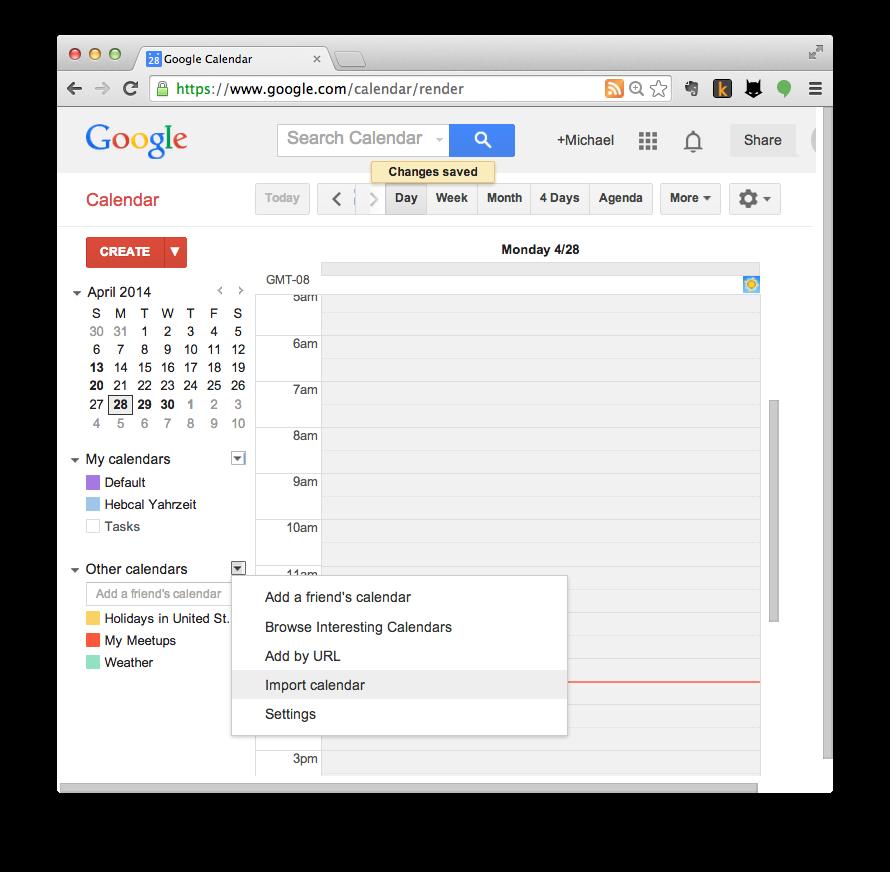 Google Calendar import step 3
