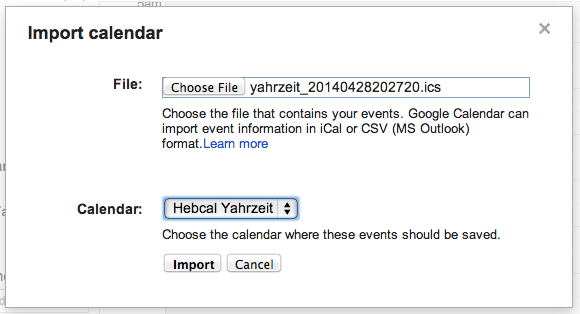 Google Calendar import step 4