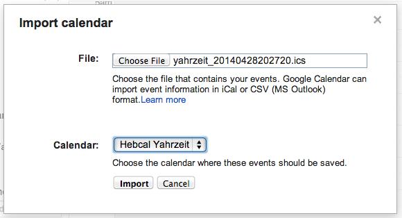 Google Calendar import step 4