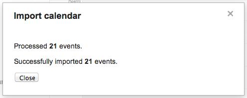Google Calendar import step 5