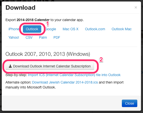 Outlook Jewish calendar download dialog box v2