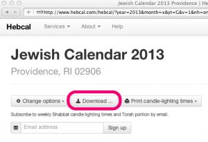 Hebcal custom calendar download highlighted