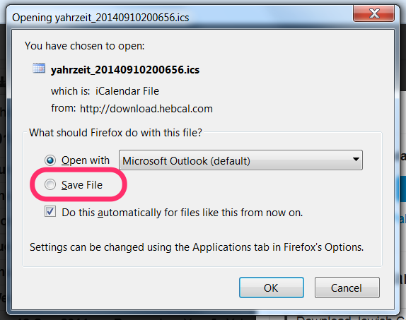hebcal download save file vs open with dialog box