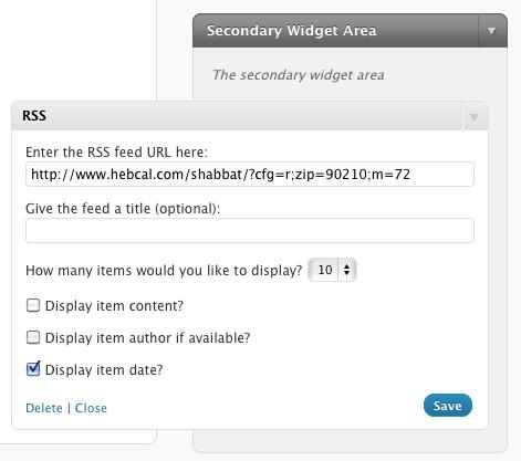 WordPress RSS Widget screenshot  sc 1 st  Hebcal & Shabbat Times WordPress plugin | Hebcal azcodes.com