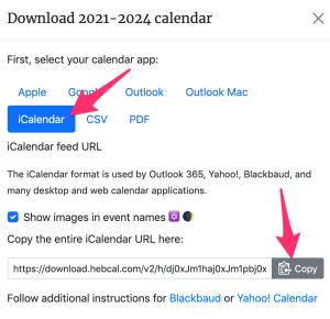 iCalendar feed dialog box