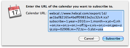 [Dialog box: Enter the URL of the calendar you want to subscribe to]